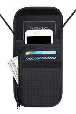 Travelambo Neck Wallet and Passport Holder Travel Wallet with RFID Blocking for Security (black)