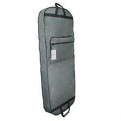 DALIX 60″ Professional Garment Bag Cover Suits Dresses Gowns Foldable Shoe Pocket in Gray