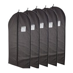 "Plixio Breathable 40"" Black Garment Bags for Storage of Suits or Dresses with Zipper & Tran ..."
