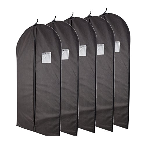 """Plixio Breathable 40"""" Black Garment Bags for Storage of Suits or Dresses with Zipper & Tran ..."""