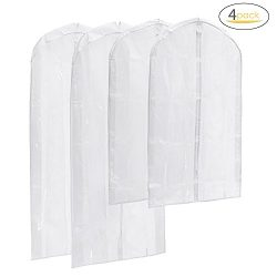 Garment Bag Clear, Magicfly Pack of 4 Top Quality PEVA Suit Bags Full Zipper Garment Cover Bags  ...