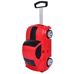 Goplus Kids Luggage Car Design w/ Wheels Toddler Travel Suitcase (Red)