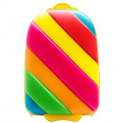 Bouncie 18 Inch Kids Children Luggage Upright Soft Side Rainbow (Candy)