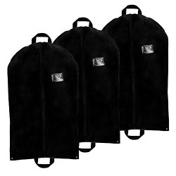 3 Pack – Breathable Garment Bag Cover w 2 Handles and Full Zipper