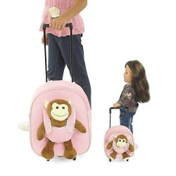 18 Inch Doll Rolling Luggage | Child & Doll Matching Backpacks w/Trolleys | Fits American Gi ...