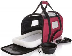 SunShack Soft Sided Travel Pet Carrier – Onboard Airline Approved Under Seat Bag for Cats  ...