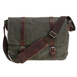 Waterproof Canvas 15.6″ Laptop Messenger Bag Men Business Vintage shoulder bag / Briefcase