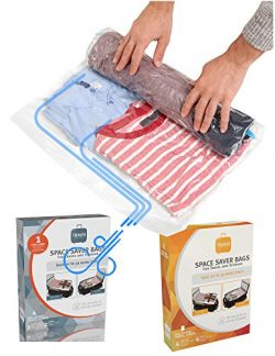 Travis Travel Gear Space Saver Bags. No Vacuum Rolling Compression, Multi Size Pack of 5