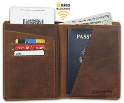 RFID Blocking Passport Holder Travel Wallet – Genuine Crazy Horse Leather