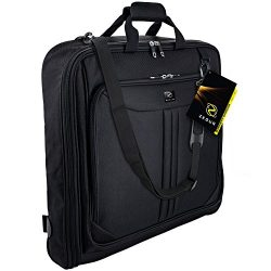 ZEGUR 40-Inch 3 Suit Carry On Garment Bag for Travel or Business Trips – Features an Adjus ...