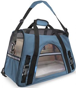 Airline Approved Pet Carriers w/ Fleece Bed For Dog & Cat – Soft Sided Kennel –  ...