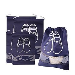 4 Pack Travel Shoes Bags with Drawstring Non-Woven Water resistant Shoe Storage Bags for Men and ...