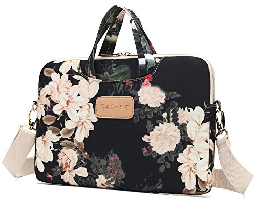 huge selection of ac67f 4d933 Dachee Black Peony Patten Waterproof Laptop Shoulder Messenger Bag ...