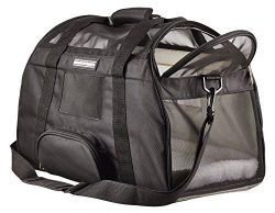Airline Cat Dog Pet Carrier Under Seat Travel Bag by Caldwell's Pet Supply Co. with 2 Bolster Be ...