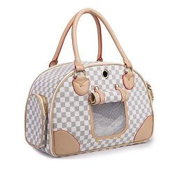 WOpet Fashion Pet Dog Carrier PU Leather Dog Carriers Luxury Cat Travel Carrying Handbag for Ou ...