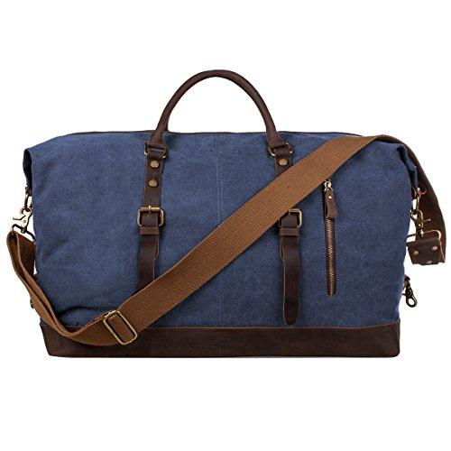 S Zone Oversized Canvas Genuine Leather Trim Travel Tote Duffel Shoulder Handbag Weekend Bag