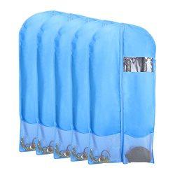 Kernorv Breathable Dust-proof Garment Bag, Set of 5 Environmental Zipper Suit Covers, 51″  ...