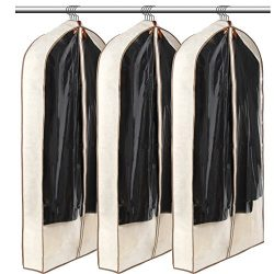LUXEHOME Reusable Folding Canvas Garment Bags for Suits, Cloth, Protects Storage Home Decor, Set ...