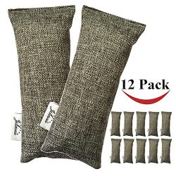 Jalousie 12 Packs 100g Each Mini Bamboo Charcoal Bags Natural Air Purifier, Shoe Deodorizer and  ...