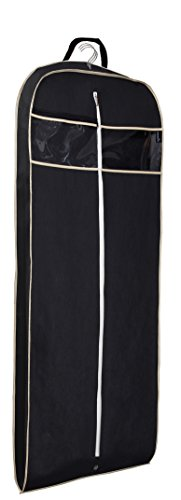 Thickness 60″ Suit/Dress Black Garment Bag with Clear Window Pocket