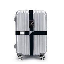 BlueCosto Black TSA Lock Adjustable Luggage Strap Cross Suitcase Belts Travel Bag Heavy Duty Belt