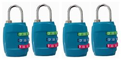 ZHW 3 Digit Combination Lock For Suitcases & Baggage,Gym Combination Lock 4 Pack (4 Pack Blue)