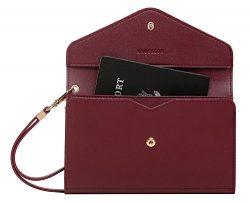 Krosslon Rfid Travel Passport Wallet Holder Tri-fold Document Wristlet Organiser Bag (9# Burgundy)