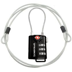 TSA Approved Cable Luggage Locks plus Bonus 4 Foot Steel Cable Lumintrail Combination Travel Sec ...