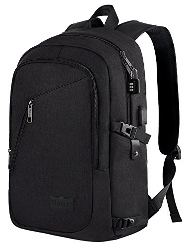 Anti Theft Business Laptop Backpack With USB Charging Port Fits UNDER 17 Inch Laptop By Mancro ...