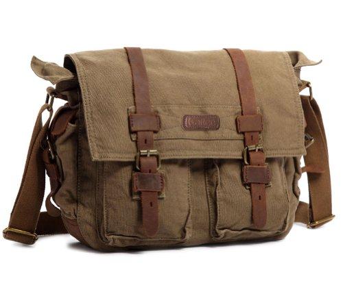 a4e7e3f84e Kattee Unisex s Classic Military Canvas Shoulder Messenger Bag Leather  Straps Fit 16″ .