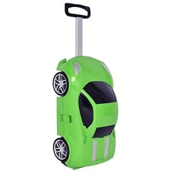 Goplus Kids Suitcase Car Shape Toddler 3D Carry On Travel Luggage (Green)