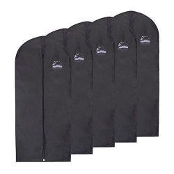 FU GLOBAL Garment Bag Breathable Suit Bag 54 Inches Black Dress Travel Bag Suit Cover Pack of 5 (5)