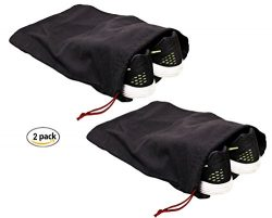 Earthwise 100% Cotton Shoe Storage Bags For Men/Women with Drawstring in Black. MADE IN THE USA. ...