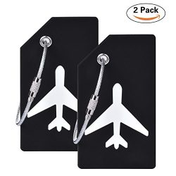 2Pcs Black Silicon Travel Luggage Tags Suitcase Luggage Bag Tags, Travel Airlines Baggage ID Nam ...