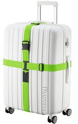 TRANVERS Cross Luggage Strap For Suitcase Heavy Duty Packing Belt Sturdy Long Green