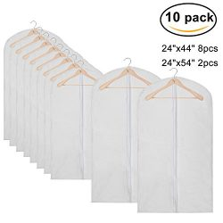 Pack of 10 PEVA Viewable Garment Bags, Full Zipper Breathable White Suit Bags, Light Weight, 8 M ...
