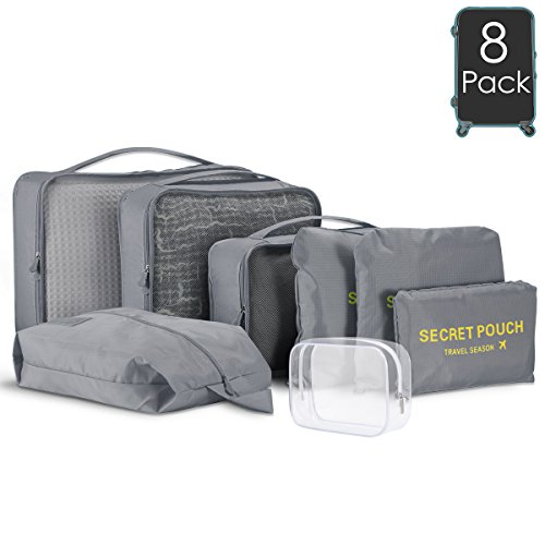 Kingmas 8 Set Packing Cubes 6 Travel Organizer Luggage Compression Pouches 1 Clear Toiletry