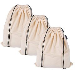 Misslo Cotton Breathable Dust-proof Drawstring Storage Pouch Bag (Pack 3 S)
