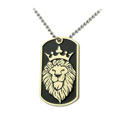 PINMEI Military Pet Dog Tag Luggage Tag Key Ball Chain Stainless Steel Necklace (Gold, Winged Lion)