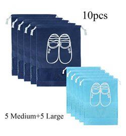 Zmart 10 pcs Shoe Bags Transparent Storage Organizer Bag for Travel/Carrying for Women Men