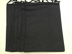 Travel Shoes Bags Non-woven Big Bag 12*15″ Set of 6 (Black)