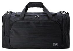 MIER 21″ Sports Gym Bag with Wet Pocket Travel Duffel Bag for Men and Women, Black