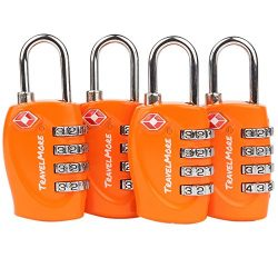 4 Pack TSA Approved Luggage Locks for Travel Safety, Small 4 Digit Combination Padlocks for Suit ...