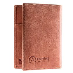 Passport Wallet, Luxury Leather RFID Blocking, Premium Passport Holder, Gift Box (Vintage Brown)
