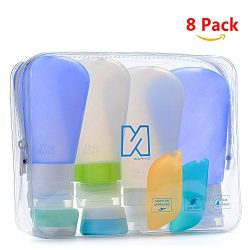 Portable 3-layer Leakproof Silicon Soft Travel Bottle Sets(8PCS) With Cosmetic Containers(10mL)  ...