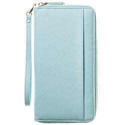 Travel Document Organizer & RFID Passport Wallet Case, Family Passport Holder Id (Sky Blue)