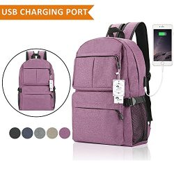 Laptop Backpack, College Backpack 15 15.6 Inch Laptop bag with USB Charging Port Light Weight Tr ...