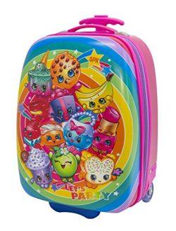 Moose Girls' Shopkins Hard Shell Rolling Backpack Luggage, Pink
