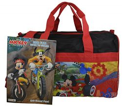 Disney Mickey Mouse 18″ Duffle Bag Carry-on Bag w/ Bonus Coloring Book (Red-Black)