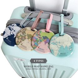 King&Pig 4pcs World Map Luggage Tags Suitcase Luggage Tags Travel Accessories Baggage Name T ...